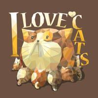 Cat Mother Polygon Art by Siriliya