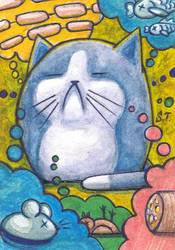 ACEO Cat dreams about food by Siriliya