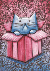 ACEO Cat in a box zentangle by Siriliya