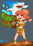 Savage Girl and Shark by Lupo Basilio by LupoBasilio