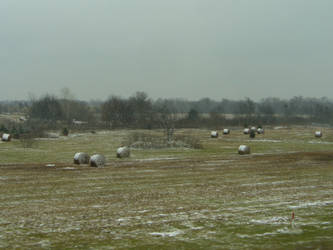 Frosted Hay Bales 2 by Toranih-stock