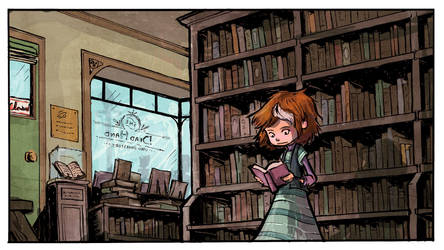 Inside the Dead Hand Used Bookstore COLOR! by AmeliaPenDraws