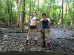 The Heroines // Classic and Reboot Lara Croft by AmuletofHorus