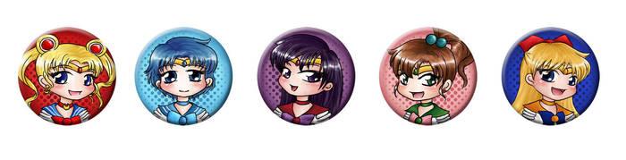 Sailor Moon button set (Inner Senshi) by silvernomiko
