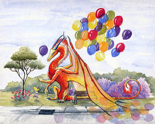 Balloon Dragon - Watercolor by jennyleigh