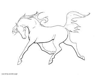 Free Arabian Horse Line Art by jennyleigh