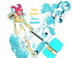 ROBOT GIRLS POWER!!! by alphusprime