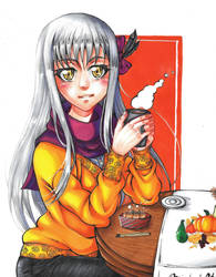 Drinking coffee with Yukina by Devi-chans-Art