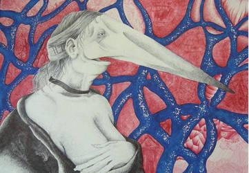 Woman breasts feeding an eel by Simone-Lomartire