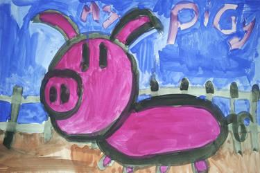 Pig, watercolored. by victoria-jaderose