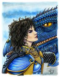 Kitiara and Khellendros by Taurina