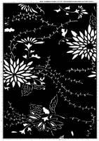 Screentone kimono flower 2 by bakenekogirl