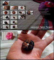 Japanese Fabric Flower by bakenekogirl