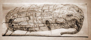 biomechanical airship by bogatyrkhan