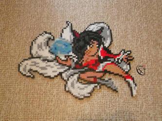 Ahri Fighting perler beads by Cimenord