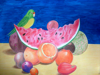 Still life with parrot by Shanglon
