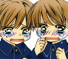 Crying twins by Rakuenflowright