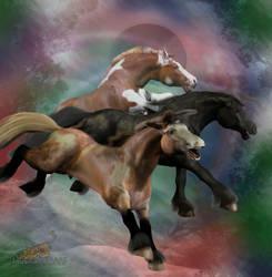 3 horses by musicat