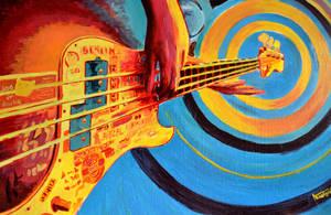abstract bass guitar painting by ilyagalayda