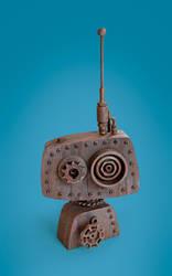 Little Rusty Robot Bust by meandmunch
