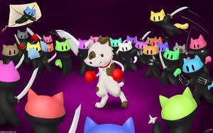 Milkshakes the Dog vs the Ninja Cat Hoarde by SonOfNothing