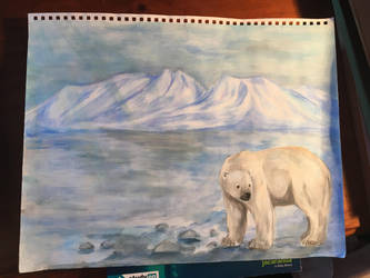 Polar bear - acrylic paint on A3 sketch book paper by animalover501