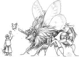 Chimera Flymeleon line art by The-Bambookazee