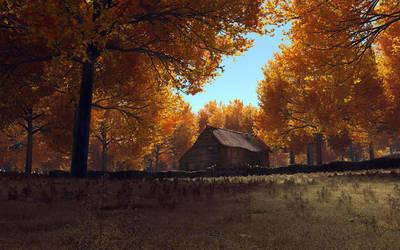 Old Barn in Autumn by Buzzzzz