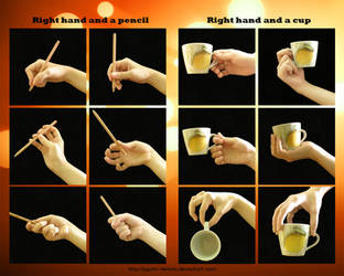 Right Hand, a Pencil and a Cup by ayumi-lemura