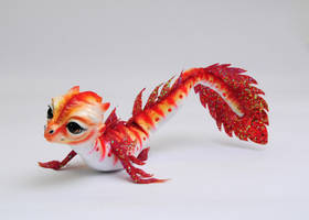 Red Babywaterdragon, Poseable art doll by FellKunst