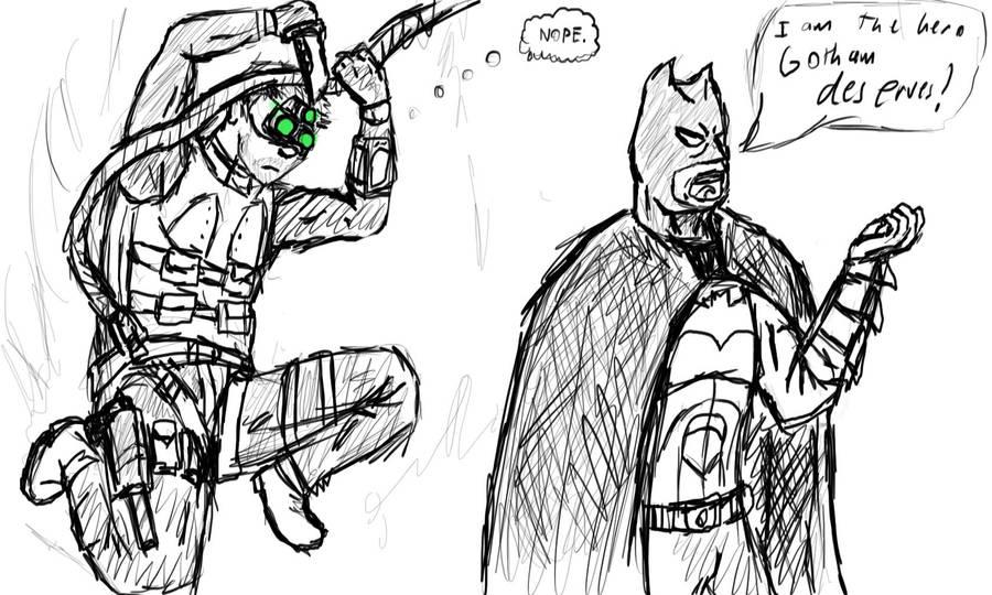 Batman vs. Sam Fisher by LassieTheRex