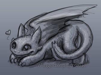 Toothless doodle by WingedZephyr
