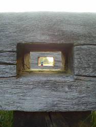 Sunset thru old wood by lennarrrt