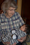 Great Grandma Peggy holding Great Grandson Jack by MindfullyArtistic