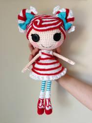 LALALOOPSY Mint E Stripe Crochet Amigurumi Doll by Npantz22