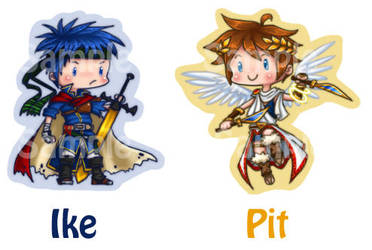 SSBB Ike and Pit Key chains Stickers and buttons by roseannepage