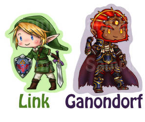 SSBB Link and Ganondorf keychains stickers buttons by roseannepage