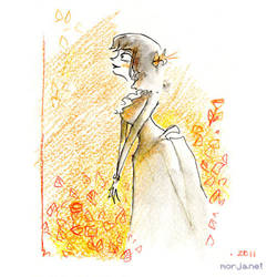 Orange-yellow #lady ink+water+ color pencil#victor by Morja