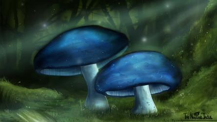 Blue Mushrooms by NuclearJackal