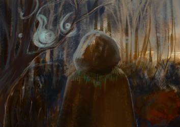Druid talking to the spirit world by Ailantan