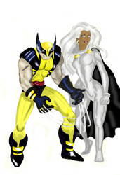 Storm and Wolverine by SweetyYingTao
