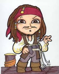 Chibi-Jack Sparrow. by hedbonstudios