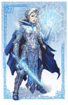 Elsa from Disney's Frozen donning battle armor by ZFischerillustrator