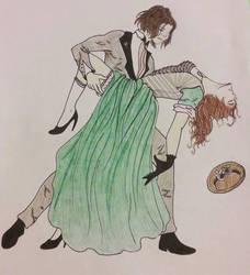 Requested Sketch Dancing Couple by Jadenredcoat