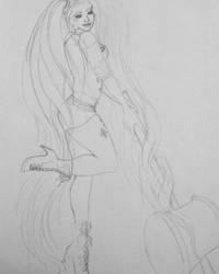 requested Harley long hair rough sketch. by Jadenredcoat