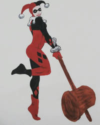 Harley Quinn Acrylic Painting. Requested* by Jadenredcoat