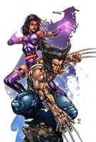 Logan + Psylocke by AlonsoEspinoza