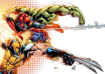 Wolverine+Spiderman+Hulk by AlonsoEspinoza