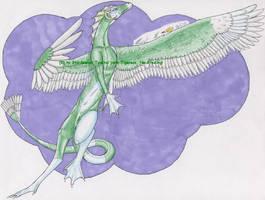 Piebald Feathered Dragon by StarSeekerDragoness