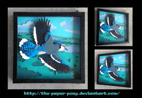 Commission: Blue Jay Shadowbox by The-Paper-Pony